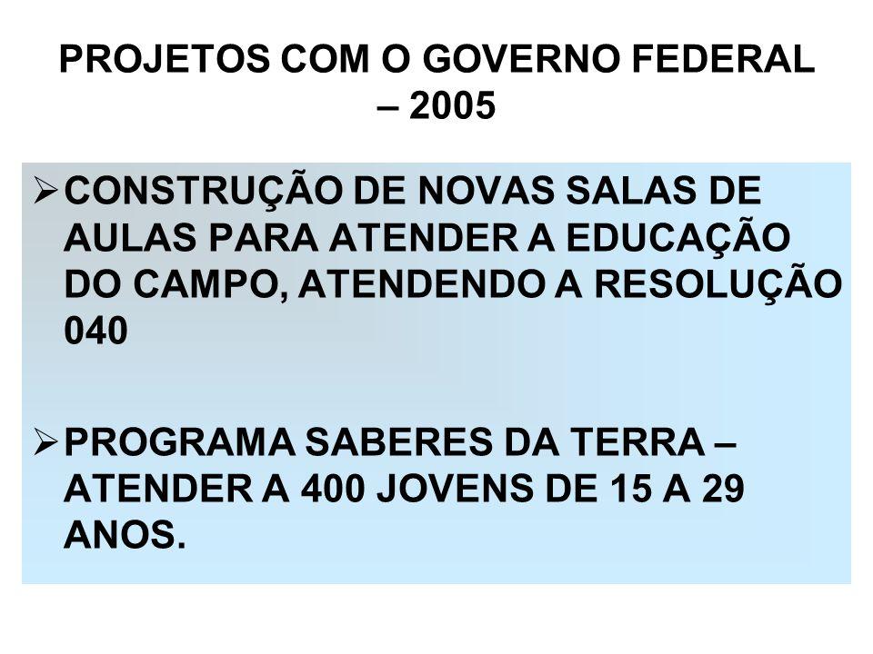 PROJETOS COM O GOVERNO FEDERAL – 2005