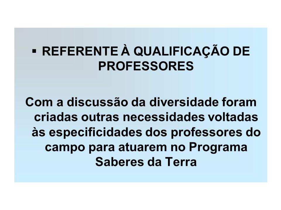 REFERENTE À QUALIFICAÇÃO DE PROFESSORES