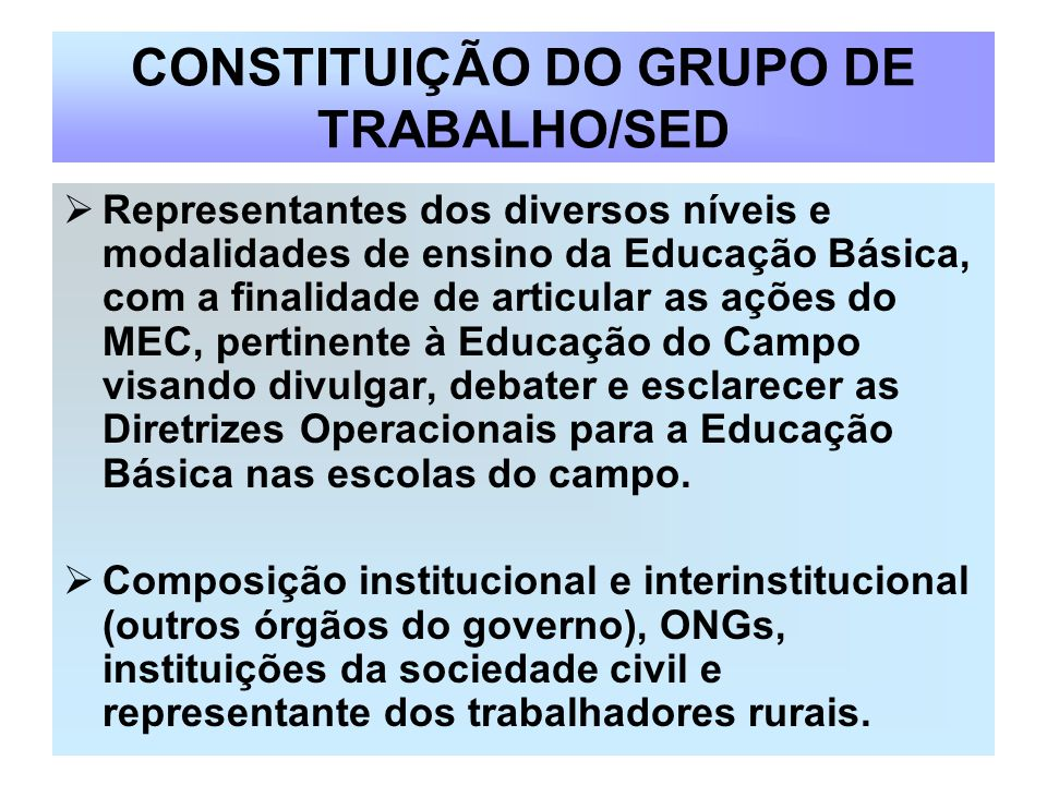 CONSTITUIÇÃO DO GRUPO DE TRABALHO/SED