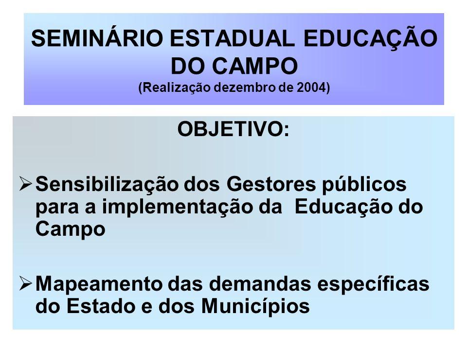 SEMINÁRIO ESTADUAL EDUCAÇÃO DO CAMPO (Realização dezembro de 2004)