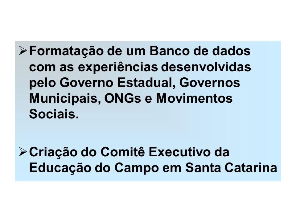 Formatação de um Banco de dados com as experiências desenvolvidas pelo Governo Estadual, Governos Municipais, ONGs e Movimentos Sociais.
