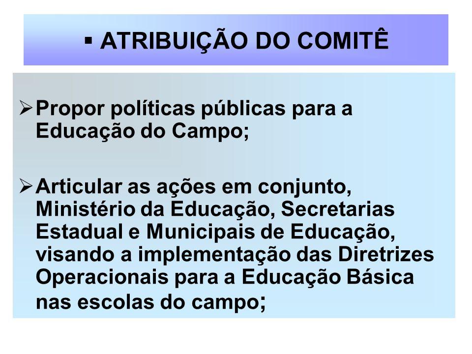ATRIBUIÇÃO DO COMITÊ Propor políticas públicas para a Educação do Campo;