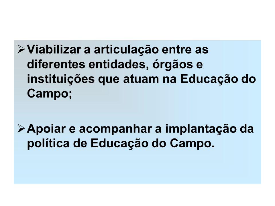 Viabilizar a articulação entre as diferentes entidades, órgãos e instituições que atuam na Educação do Campo;