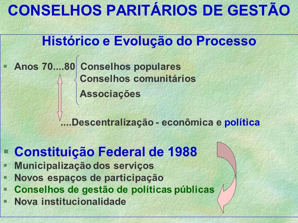 CONSELHOS PARITÁRIOS DE GESTÃO