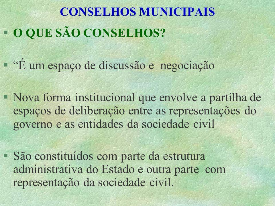 CONSELHOS MUNICIPAIS O QUE SÃO CONSELHOS É um espaço de discussão e negociação.