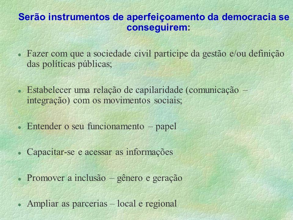Serão instrumentos de aperfeiçoamento da democracia se conseguirem: