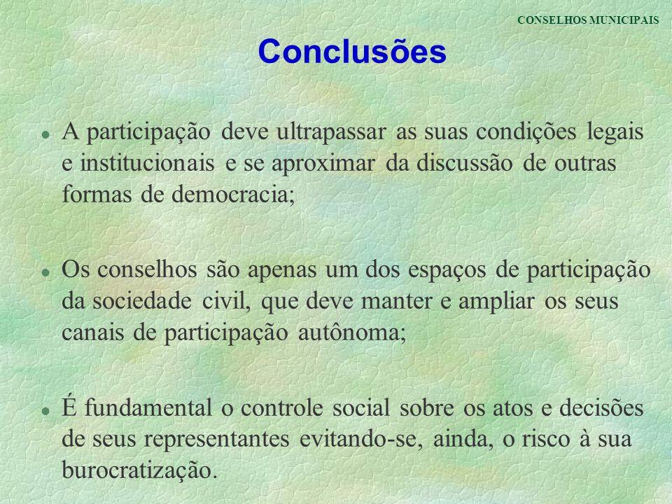 CONSELHOS MUNICIPAIS Conclusões.