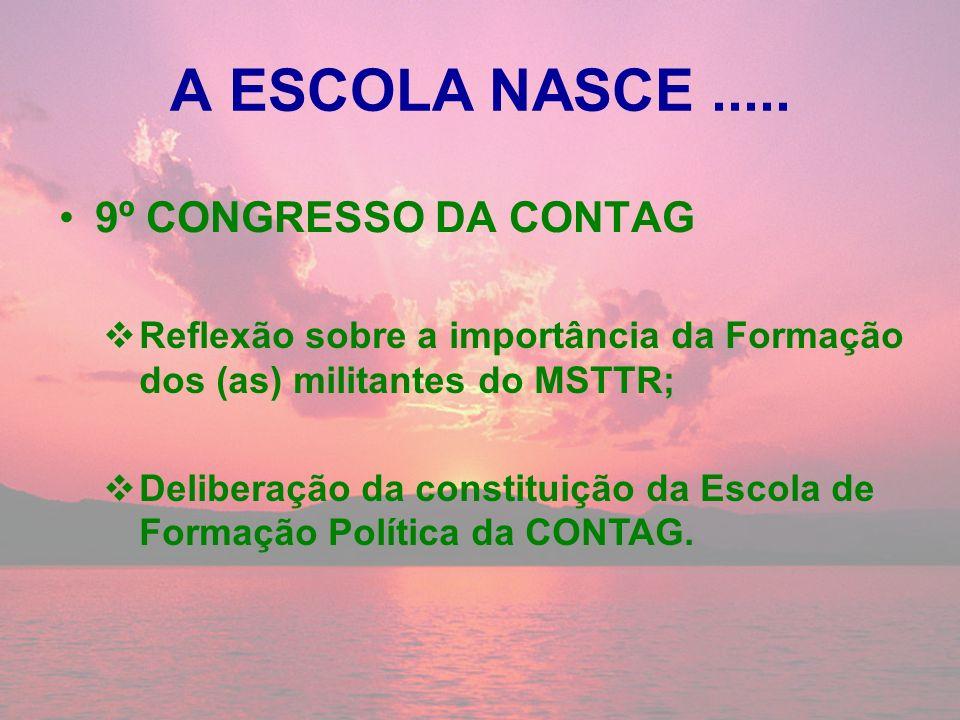 A ESCOLA NASCE ..... 9º CONGRESSO DA CONTAG