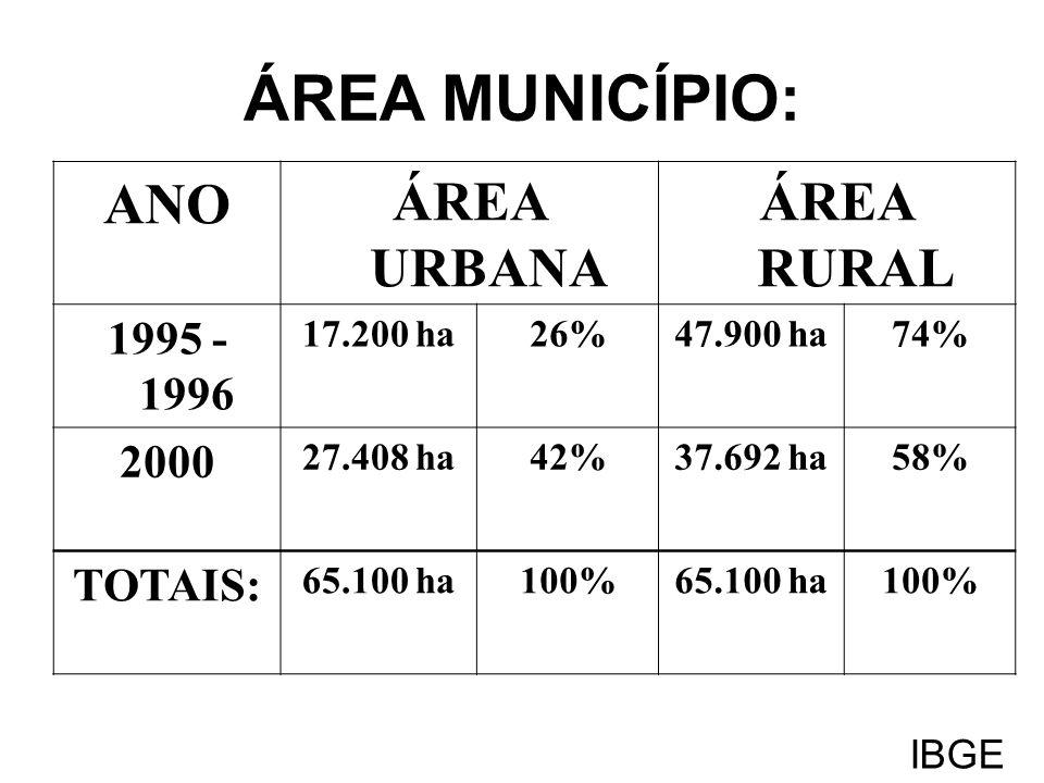 ÁREA MUNICÍPIO: ANO ÁREA URBANA ÁREA RURAL 1995 - 1996 2000 TOTAIS: