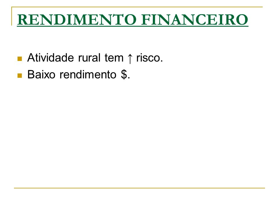 RENDIMENTO FINANCEIRO