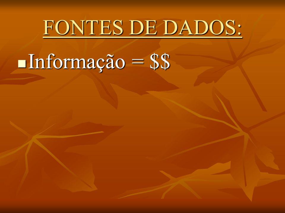 FONTES DE DADOS: Informação = $$