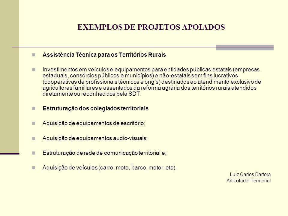 EXEMPLOS DE PROJETOS APOIADOS
