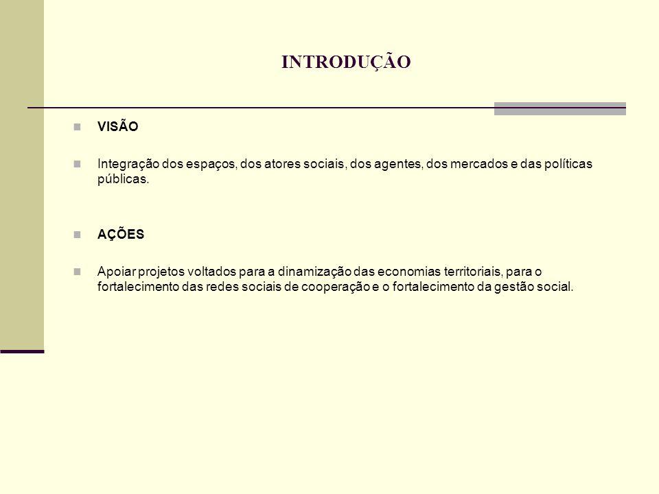 INTRODUÇÃO VISÃO. Integração dos espaços, dos atores sociais, dos agentes, dos mercados e das políticas públicas.