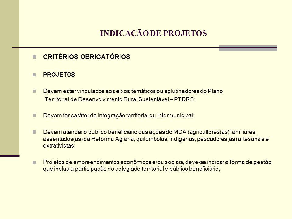 INDICAÇÃO DE PROJETOS CRITÉRIOS OBRIGATÓRIOS PROJETOS