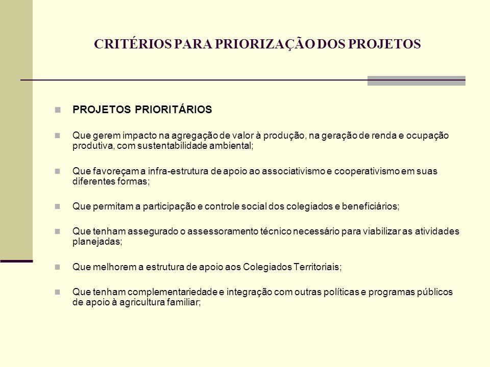 CRITÉRIOS PARA PRIORIZAÇÃO DOS PROJETOS