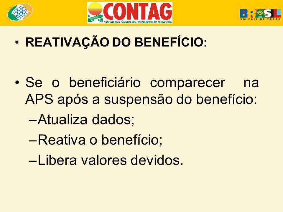 Se o beneficiário comparecer na APS após a suspensão do benefício: