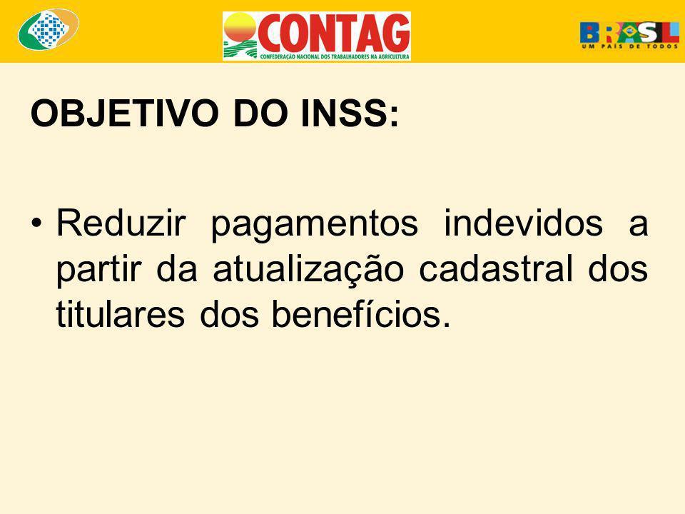 OBJETIVO DO INSS:Reduzir pagamentos indevidos a partir da atualização cadastral dos titulares dos benefícios.