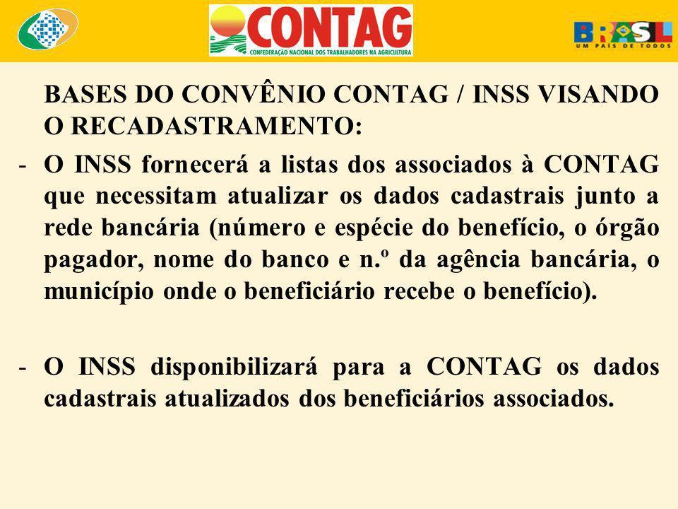 BASES DO CONVÊNIO CONTAG / INSS VISANDO O RECADASTRAMENTO: