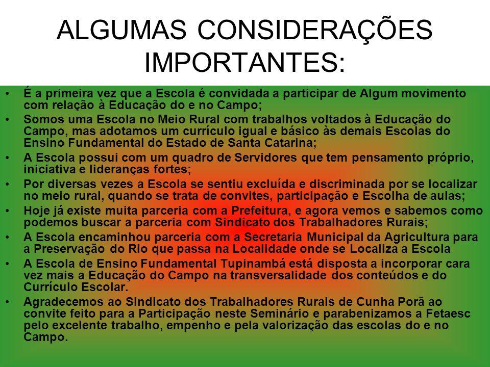 ALGUMAS CONSIDERAÇÕES IMPORTANTES: