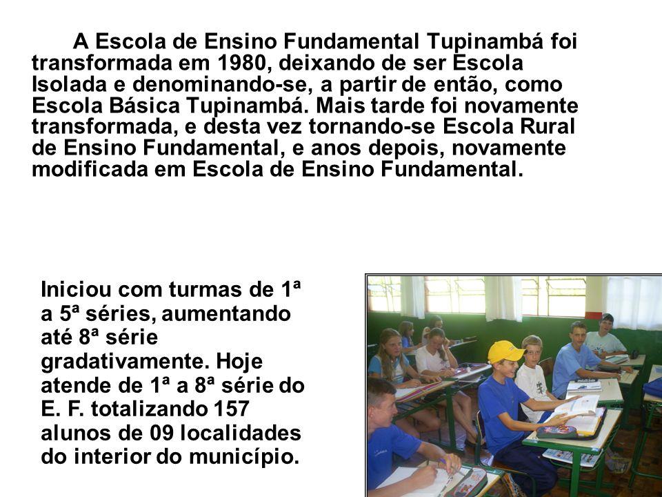 A Escola de Ensino Fundamental Tupinambá foi transformada em 1980, deixando de ser Escola Isolada e denominando-se, a partir de então, como Escola Básica Tupinambá. Mais tarde foi novamente transformada, e desta vez tornando-se Escola Rural de Ensino Fundamental, e anos depois, novamente modificada em Escola de Ensino Fundamental.