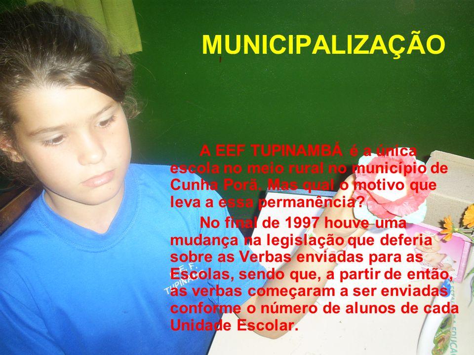 MUNICIPALIZAÇÃO A EEF TUPINAMBÁ é a única escola no meio rural no município de Cunha Porã. Mas qual o motivo que leva a essa permanência