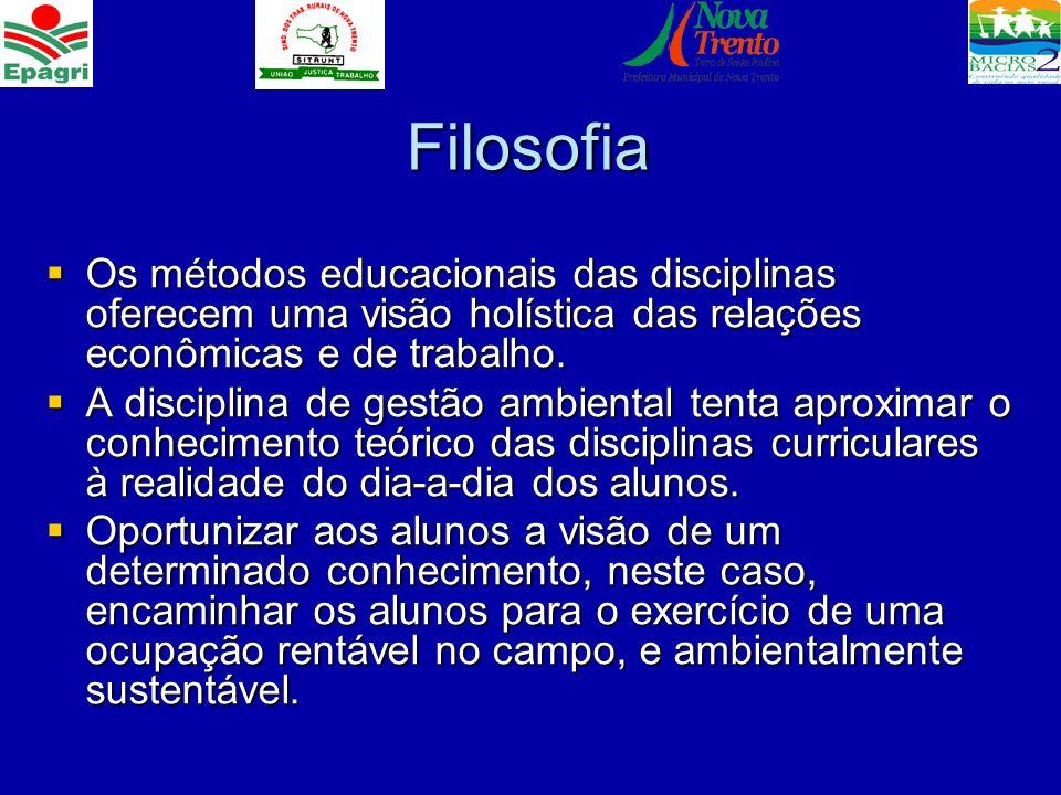 Filosofia Os métodos educacionais das disciplinas oferecem uma visão holística das relações econômicas e de trabalho.