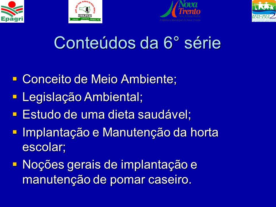 Conteúdos da 6° série Conceito de Meio Ambiente; Legislação Ambiental;