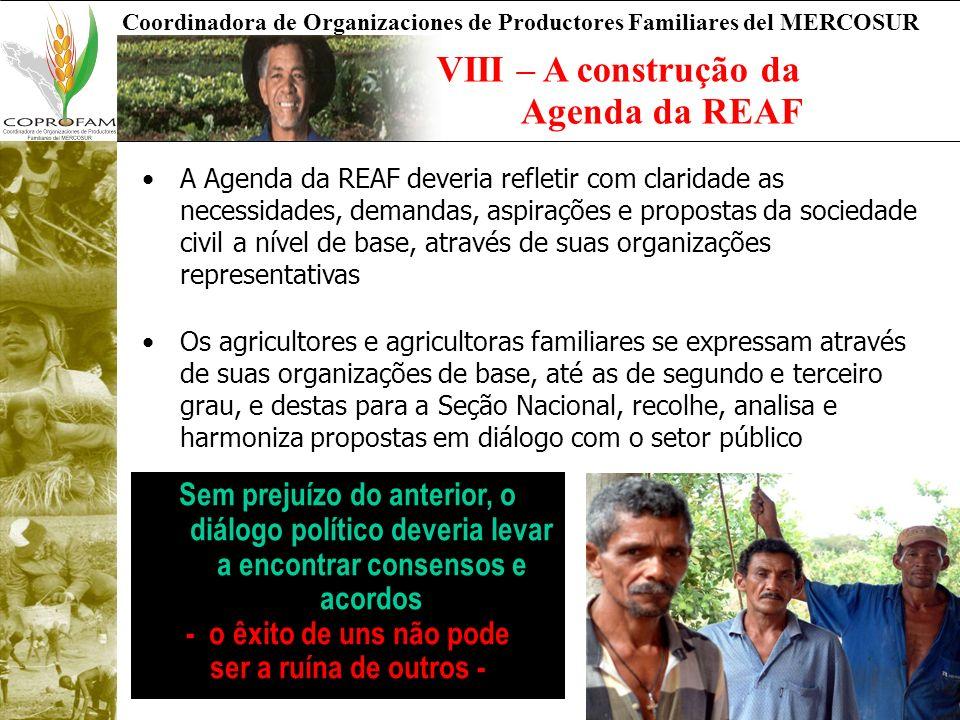 VIII – A construção da Agenda da REAF