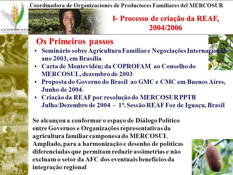 I- Processo de criação da REAF, 2004/2006