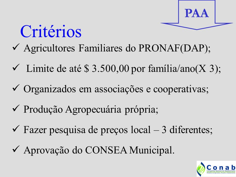 Critérios PAA Agricultores Familiares do PRONAF(DAP);