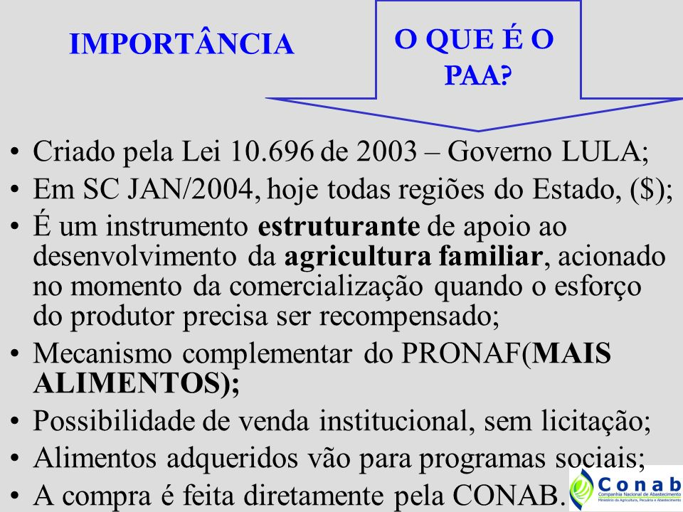 IMPORTÂNCIA O QUE É O. PAA Criado pela Lei 10.696 de 2003 – Governo LULA; Em SC JAN/2004, hoje todas regiões do Estado, ($);