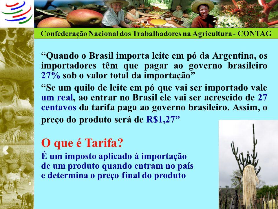 Quando o Brasil importa leite em pó da Argentina, os importadores têm que pagar ao governo brasileiro 27% sob o valor total da importação