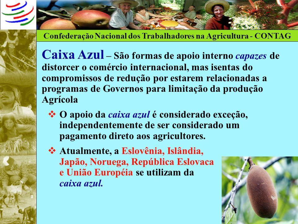 Caixa Azul – São formas de apoio interno capazes de distorcer o comércio internacional, mas isentas do compromissos de redução por estarem relacionadas a programas de Governos para limitação da produção Agrícola