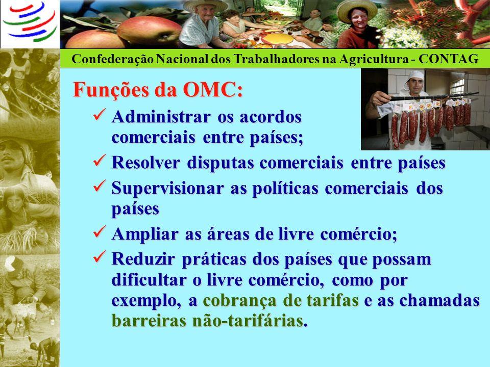 Funções da OMC: Administrar os acordos comerciais entre países;