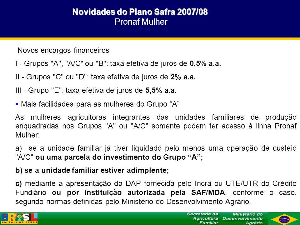 Novidades do Plano Safra 2007/08 Pronaf Mulher