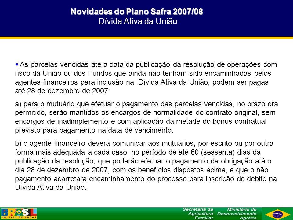 Novidades do Plano Safra 2007/08 Dívida Ativa da União