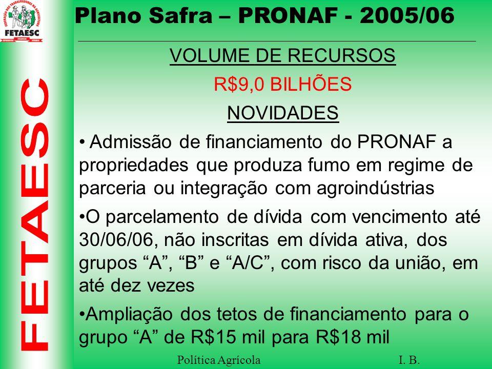 Plano Safra – PRONAF - 2005/06 VOLUME DE RECURSOS R$9,0 BILHÕES