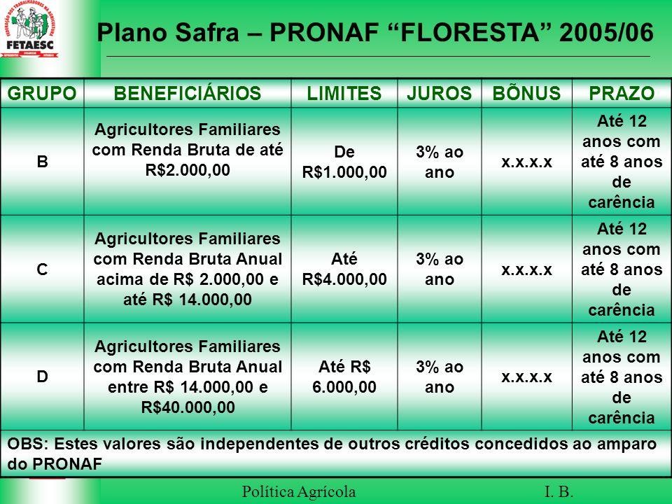 Plano Safra – PRONAF FLORESTA 2005/06