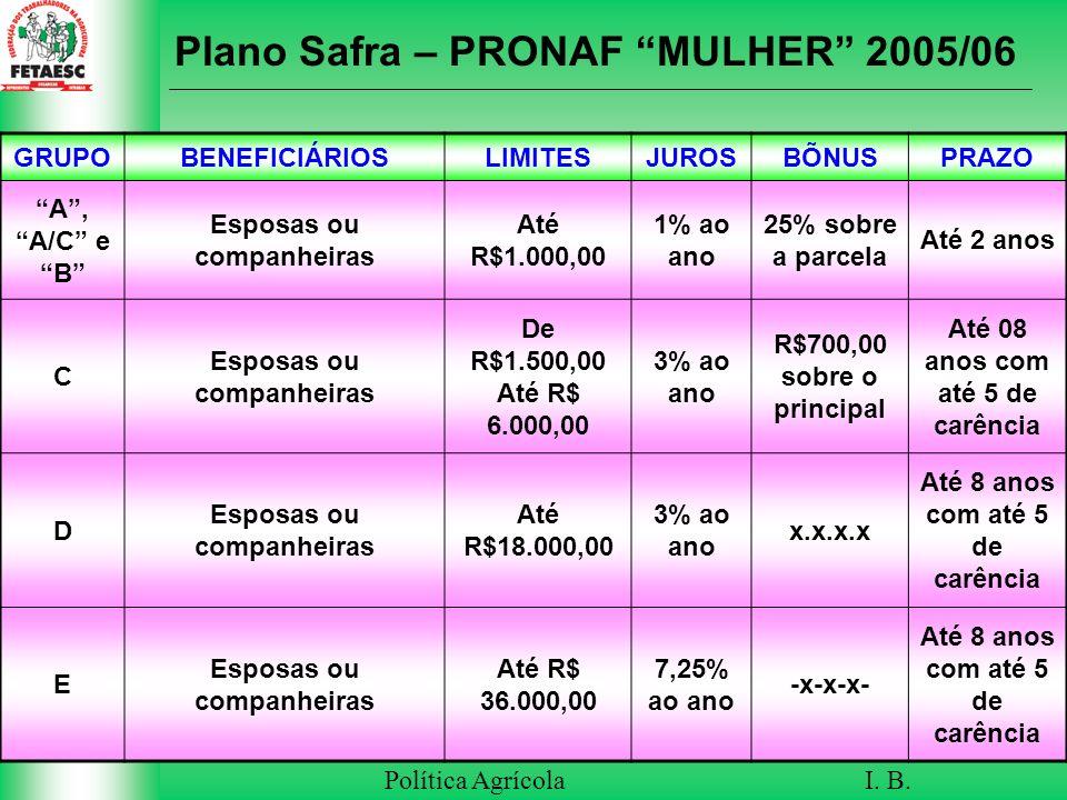 Plano Safra – PRONAF MULHER 2005/06