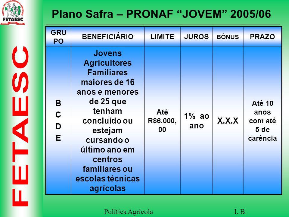 Plano Safra – PRONAF JOVEM 2005/06 Até 10 anos com até 5 de carência