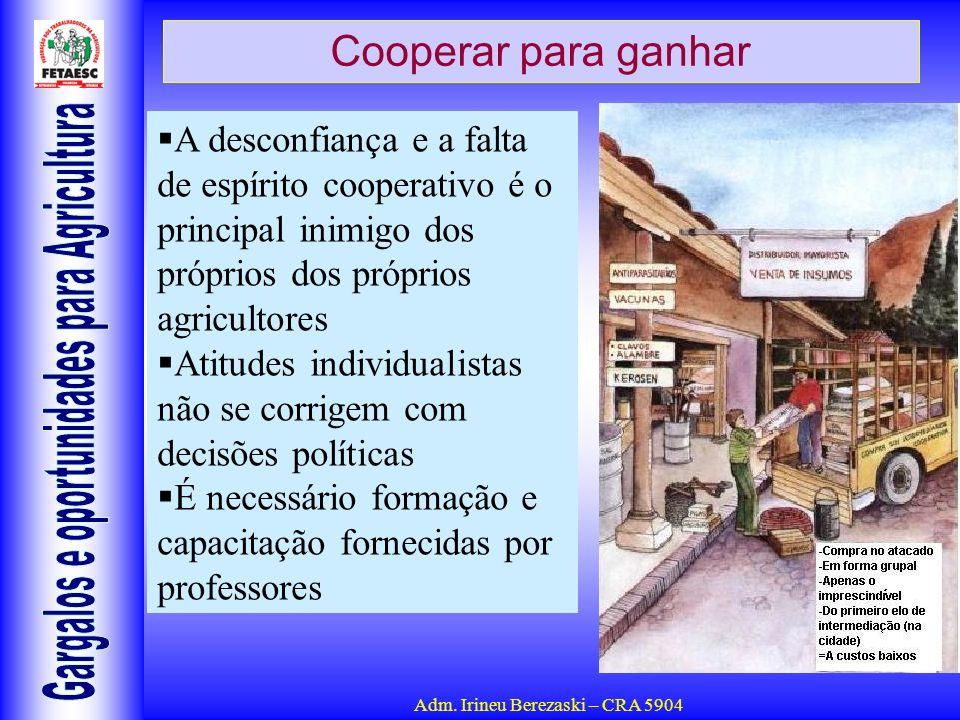 Cooperar para ganhar A desconfiança e a falta de espírito cooperativo é o principal inimigo dos próprios dos próprios agricultores.