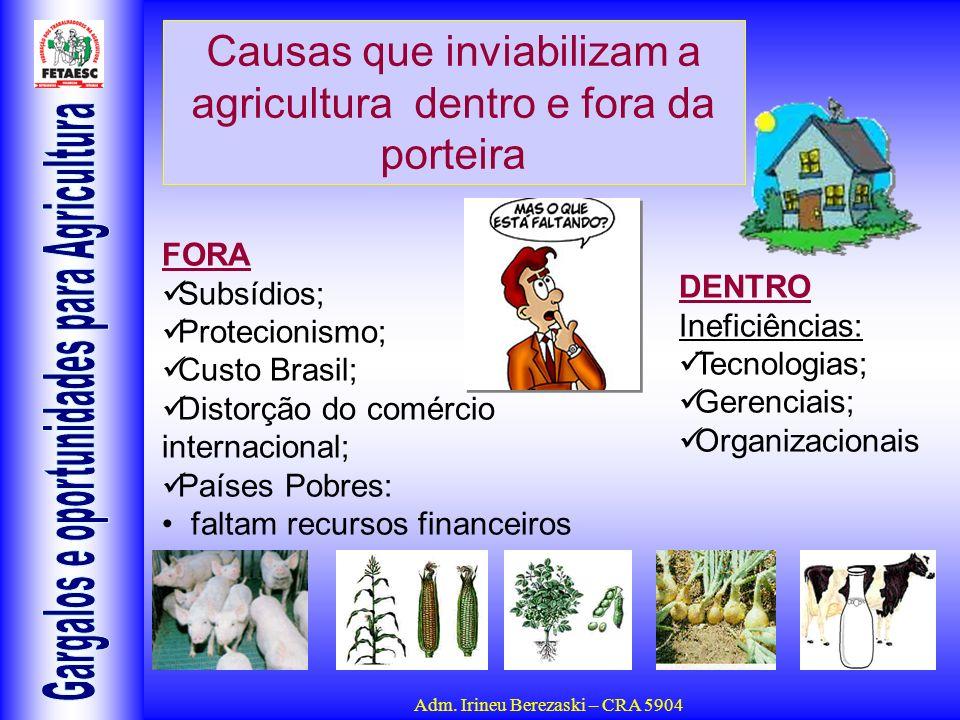 Causas que inviabilizam a agricultura dentro e fora da porteira