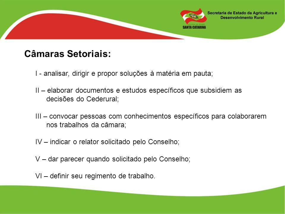 Câmaras Setoriais: I - analisar, dirigir e propor soluções à matéria em pauta;