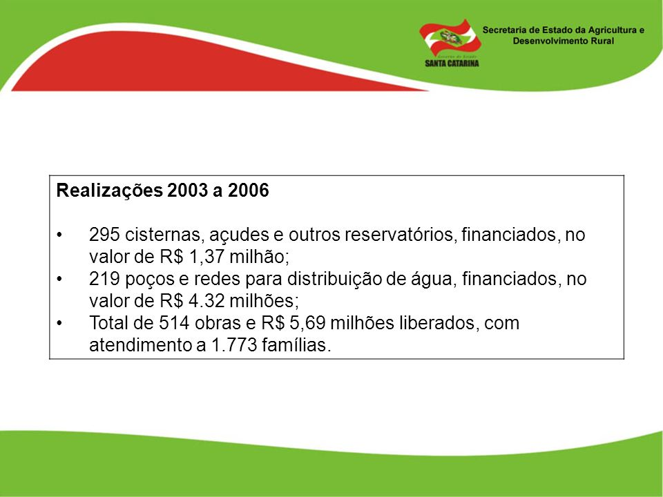 Realizações 2003 a 2006 295 cisternas, açudes e outros reservatórios, financiados, no valor de R$ 1,37 milhão;