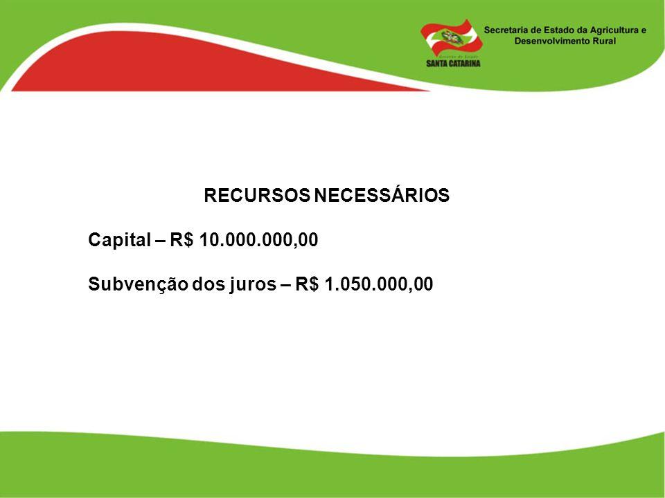 RECURSOS NECESSÁRIOS Capital – R$ 10.000.000,00 Subvenção dos juros – R$ 1.050.000,00