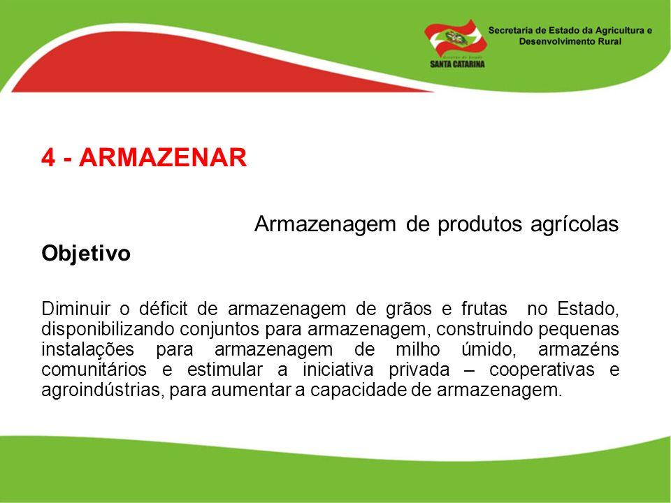 4 - ARMAZENAR Armazenagem de produtos agrícolas Objetivo