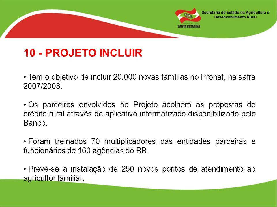 10 - PROJETO INCLUIR Tem o objetivo de incluir 20.000 novas famílias no Pronaf, na safra 2007/2008.