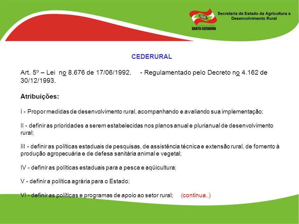 CEDERURAL Art. 5º – Lei no 8.676 de 17/06/1992. - Regulamentado pelo Decreto no 4.162 de 30/12/1993.