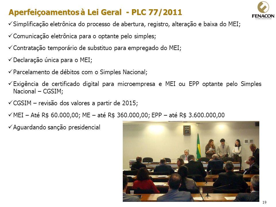 Aperfeiçoamentos à Lei Geral - PLC 77/2011
