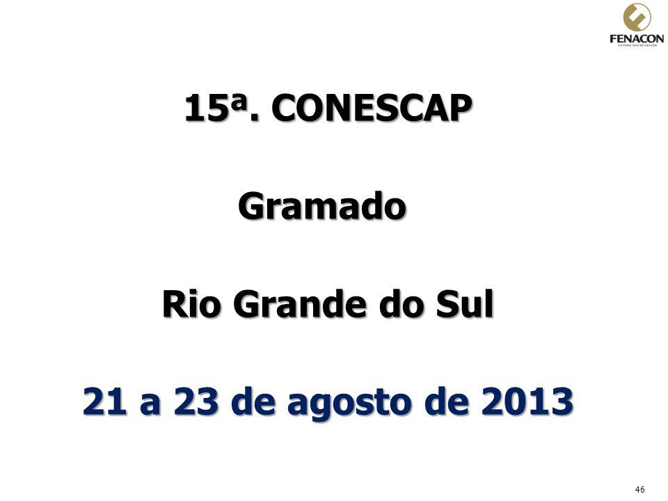 15ª. CONESCAP Gramado Rio Grande do Sul 21 a 23 de agosto de 2013